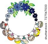 kids with flower border   Shutterstock .eps vector #727567033