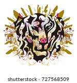 tiger head mascot with gold... | Shutterstock .eps vector #727568509