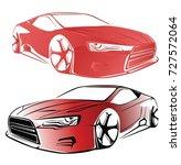 sport car. modern car on a... | Shutterstock .eps vector #727572064