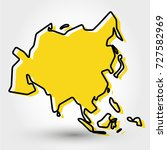 yellow outline map of asia ...   Shutterstock .eps vector #727582969