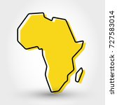 yellow outline map of africa ... | Shutterstock .eps vector #727583014