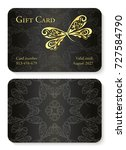 luxury black gift card with... | Shutterstock .eps vector #727584790