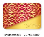luxury red gift card with... | Shutterstock .eps vector #727584889