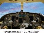 corporate jet cockpit with... | Shutterstock . vector #727588804