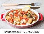salmon baked with sesame ... | Shutterstock . vector #727592539