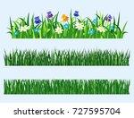 green grass elements  vector... | Shutterstock .eps vector #727595704