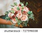bride showing off her beautiful ... | Shutterstock . vector #727598338