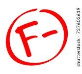 fail. grade result f . hand... | Shutterstock .eps vector #727602619