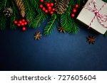 christmas or new year dark...   Shutterstock . vector #727605604