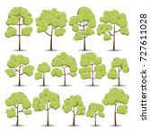 cute trees collection. vector... | Shutterstock .eps vector #727611028