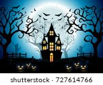 halloween night background with ... | Shutterstock .eps vector #727614766