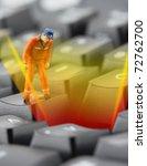 figurine of worker looking into ... | Shutterstock . vector #72762700