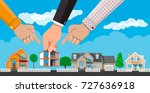 hand picks a house. suburban... | Shutterstock .eps vector #727636918