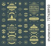 christmas labels and badges... | Shutterstock .eps vector #727638910