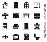 16 vector icon set   table lamp ... | Shutterstock .eps vector #727643488