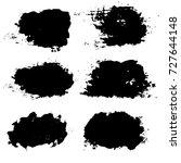 set of black brush strokes  ink ... | Shutterstock .eps vector #727644148