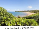 Tropical coast with ocean and island view over the greenery. Maui. Hawaii. Polo and Palauea Beach. - stock photo