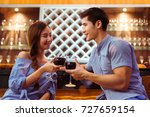 young asian couple together man ... | Shutterstock . vector #727659154