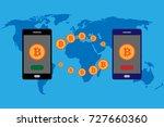 bitcoin transfer around the... | Shutterstock .eps vector #727660360