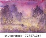 watercolor landscape with mist  ... | Shutterstock . vector #727671364