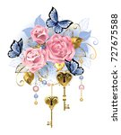 Stock vector antique golden keys with pink roses golden leaves and blue butterflies on white background 727675588