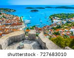 Aerial view at amazing archipelago in front of town Hvar, Croatia Mediterranean.