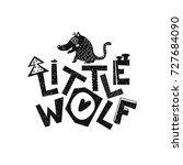 little wolf. hand drawn style... | Shutterstock .eps vector #727684090