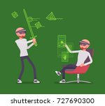 augmented reality man having... | Shutterstock .eps vector #727690300