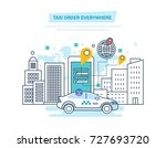 taxi order everywhere. online... | Shutterstock .eps vector #727693720