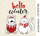 Stock vector vector christmas card greeting card with cartoon dog and cat hello winter lettering 727695700
