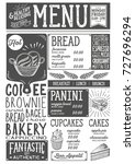 bakery dessert menu for... | Shutterstock .eps vector #727696294