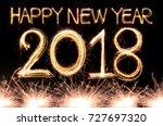 happy new year 2018 written...   Shutterstock . vector #727697320