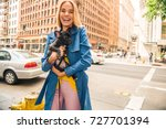 fashionable blonde woman in... | Shutterstock . vector #727701394