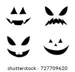 jack o lantern smile silhouette ... | Shutterstock .eps vector #727709620