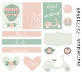 set of vector cards  hearts and ... | Shutterstock .eps vector #727711969