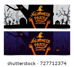 halloween party poster design... | Shutterstock .eps vector #727712374