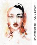 portrait of a woman watercolor. ...   Shutterstock . vector #727712404
