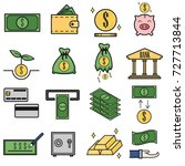set of money and coin icons... | Shutterstock .eps vector #727713844