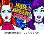halloween illustration. witch... | Shutterstock .eps vector #727716724