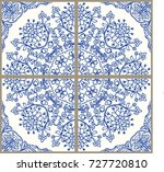 majolica pottery tile  blue and ... | Shutterstock .eps vector #727720810