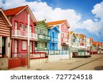 street with typical striped... | Shutterstock . vector #727724518