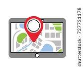 tablet pointer map navigation... | Shutterstock .eps vector #727731178