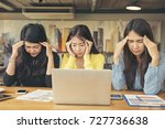 group of business woman stress... | Shutterstock . vector #727736638
