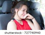 happy brunette girl sit on... | Shutterstock . vector #727740940