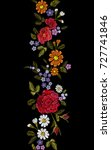 floral red rose blue violet... | Shutterstock .eps vector #727741846