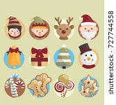 christmas icon or symbol set.  | Shutterstock .eps vector #727744558