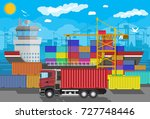 river ocean and sea freight... | Shutterstock . vector #727748446
