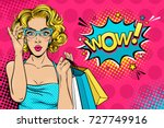 wow female face. sexy surprised ... | Shutterstock .eps vector #727749916