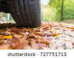 Car Tires In Autumn On Wet...