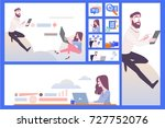 girl and guy sitting on the... | Shutterstock .eps vector #727752076